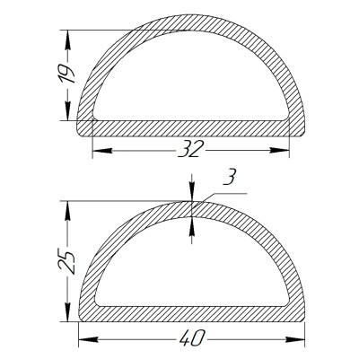 Півкільце металеве 32 * 19 * 3 мм
