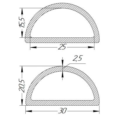 Півкільце металеве 25 * 15,5 * 2,5 мм