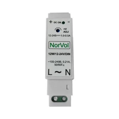 Імпульсний блок живлення на DIN-рейку 12-24V, 0.5-1A, 12W регульований