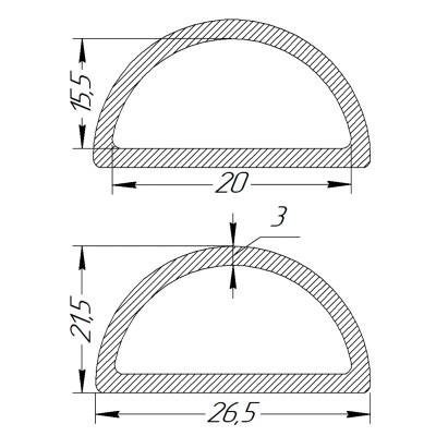 Півкільце металеве 20 * 15,5 * 3 мм фарбоване