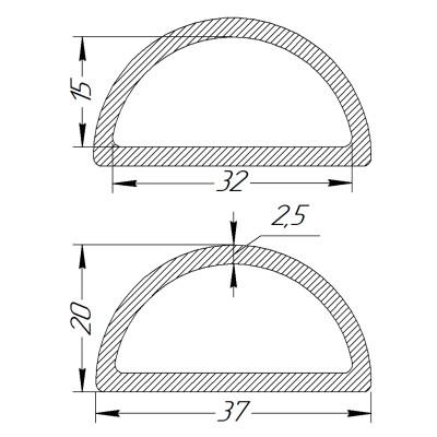 Півкільце металеве 32 * 15 * 2,5 мм