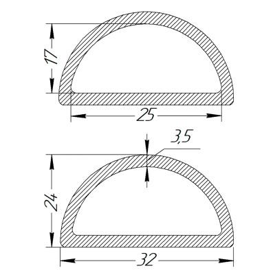 Півкільце металеве 25 * 17 * 3,5 мм