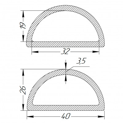 Півкільце металеве 32 * 19 * 3,5 мм