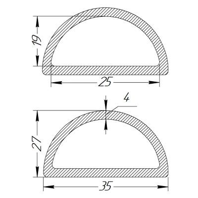 Півкільце металеве 25 * 19 * 4 мм