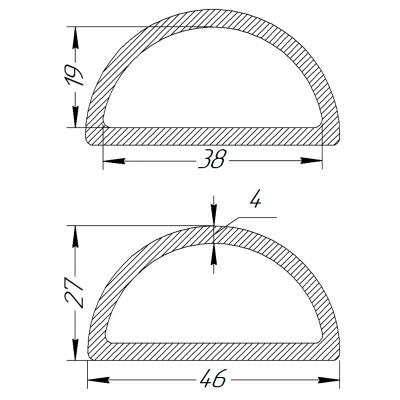 Півкільце металеве 38 * 19 * 4 мм