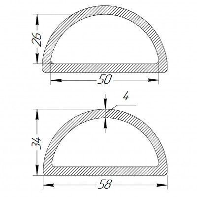 Півкільце металеве 50 * 26 * 4 мм