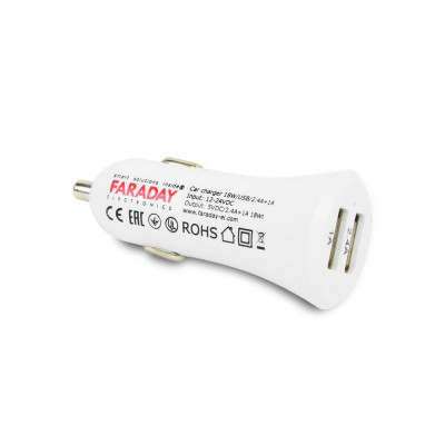 Автомобільний зарядний пристрій Faraday Electronics 18 Вт USB CAR з 2 USB виходами 2.4 А і 1 А