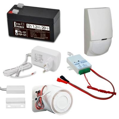 Комплект охоронної GSM сигналізації з GSM-Лайка, датчиком руху, герконом, сиреною, акумулятором, блоком живлення