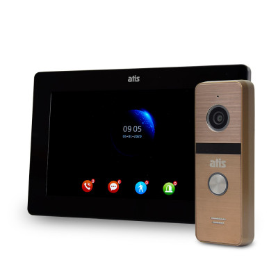 Комплект відеодомофона ATIS AD-770FHD Black + AT-400HD Gold